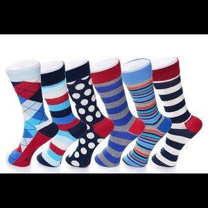 Men's funky (6 pack) colorful socks shoe size 6-12